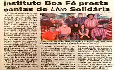 Certrim - Instituto boa fé presta contas de live solidária